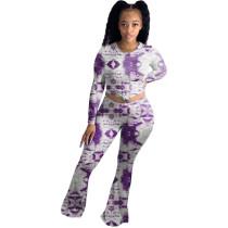 Tie Dye Print Long Sleeve Flare Pants Two Piece Set YSU-8040