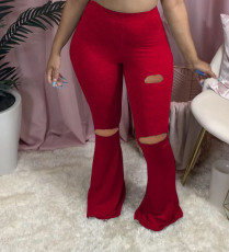 Plus Size 4XL Casual Sexy Ripped Hole Slim Big Flared Trousers MX-1137