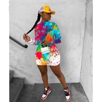 Cool Graffiti Long Sleeve Backless Nightclub Dress IV-8118