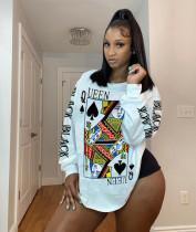 Casual Printed O Neck Irregular Sweatshirt Tops CYAO-8577