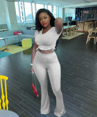 Solid Ruched Crop Top Flare Pants 2 Piece Sets LM-8176