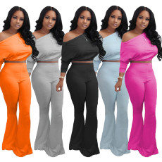 Solid Batwing Sleeve Tops Flared Pants 2 Piece Sets MIL-154