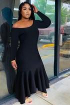 Black Long Sleeve Off Shoulder Ruffled Maxi Dress QZX-6152