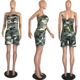 Plus Size Camo Print Strapless Tube Tops Rompers MUM-5050