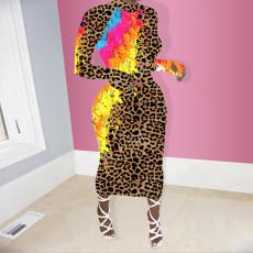 Leopard Print Full Sleeve Slim Long Dress NIK-159