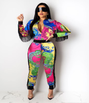 Casual Printed Zipper Jacket Long Pants 2 Piece Sets LUO-3100