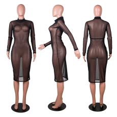 Sexy Black Long Sleeve Mesh See Through Club Dress PN-6588