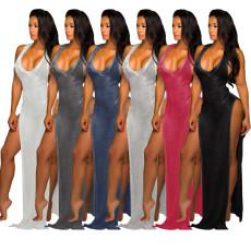 Sexy Sleeveless High Split Beach Mesh Long Dress SMR-9666