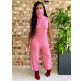 Solid Sleeveless Mask One Piece Jumpsuits Without Belt TEN-3433