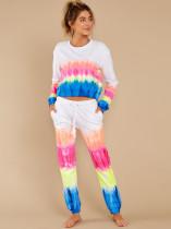 Tie Dye Print Long Sleeve Two Piece Pants Set MA-358