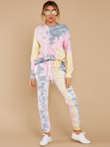 Tie Dye Long Sleeve Casual 2 Piece Pants Suit MA-357
