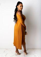 Solid Rib Long Cardigan+Midi Slip Dress 2 Piece Sets OSM-4211