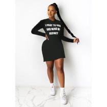 Plus Size Letter Print Long Sleeves Mini Dress SHE-7206