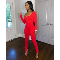 Solid Long Sleeve Skinny One Piece Jumpsuits SHE-7205