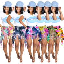 Plus Size Tie Dye Denim Tassel Jeans Shorts SH-3845