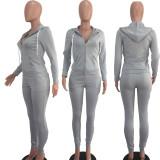 Solid Hooded Zipper Long Sleeve 2 Piece Pants Set DAI-8075