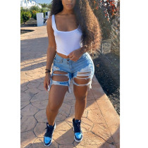Plus Size Denim Ripped Holes Jeans Shorts HSF-2296