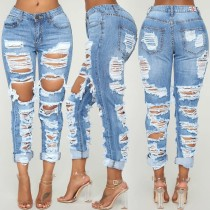 Denim Ripped Hole Inelastic Long Jeans HSF-2061