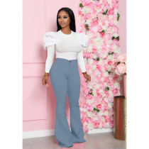 Solid Puff Sleeve Flared Pants Two Piece Sets KSN-8018