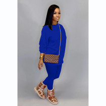 Solid Long Sleeve Two Piece Pants Set CH-8133