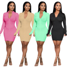 Sexy Rib Zipper Long Sleeve Bodycon Dress 8935