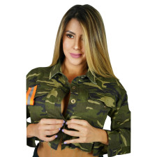 Camo Reflective Strip Sequined Short Coat YM-9236