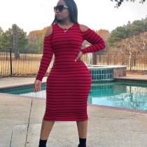 Striped Long Sleeve Fashion Sexy Slim Midi Dress OY-6211