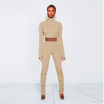 Solid Color Sexy Long Sleeve Top And Stacked Pants Two Piece Set YS-8680