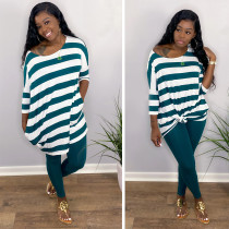 Fashion Classic Sports Stripe Top And Pants Two Piece Set ABF-6606