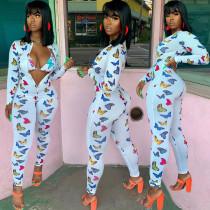 Butterfly Print Zipper Skinny Jumpsuit Without Bra BGN-101