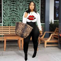 Plus Size 4XL Fashion Lip Print Casual Slim Jumpsuit WAF-7062