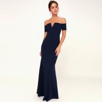 Plus Size Solid Off Shoulder Slim Long Dress CYA-1222