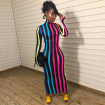 Stripe Printed Turtleneck Long Sleeve Slim Maxi Dres YIS-617