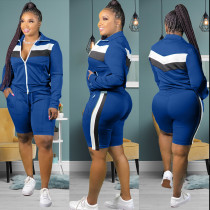 Plus Size Tracksuits Long Sleeve 2 Piece Shorts Set HGL-1523