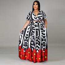 Plus Size 5XL Fat MM Fashion Printed Sexy Short Sleeve Top And Long Skirt Set CYA-1237