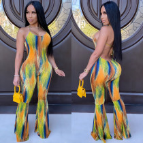 Painted Print Sexy Halter Sleeveless Backless Flare Jumpsuit CYA-8642