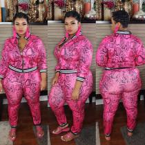 Plus Size 5XL Fat MM Printed Zipper Long Sleeve Top And Pants Two Piece Set CYA-1217