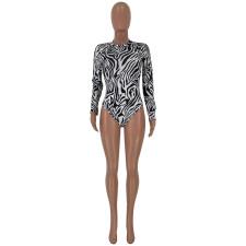 Zebra Stripe Long Sleeve Bodysuit And Skirt 2 Piece Sets JCF-7003