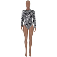 Zebra Stripe Long Sleeve Bodysuit And Skirt 2 Piece Sets JCF-7003