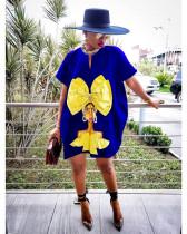 Plus Size Fashion Loose Print Short Sleeve Dress MUL-124
