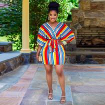 Striped Drop Shoulders V Neck Sashes Mini Dress AWF-0021