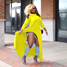 Plus Size Yellow Three Quarter Sleeves High Low Tops OM-1067