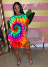 Fashion Casual Sexy Tie-dye Print Short Sleeves Loose Dress WAF-7052
