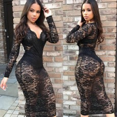 Long Sleeve V Neck Lace Sexy Party Club Midi Dress BGN-012-1