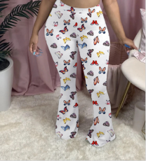 Plus Size Butterfly Print Skinny Long Flare Pants OM-1163