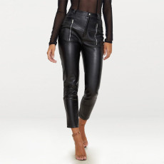 PU Leather Black Skinny Pencil Pants SH-006