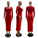 Sexy Rib Long Sleeve Red Slim Maxi Dress GLF-8026