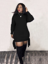 Plus Size Solid Color Long Sleeve Sexy Dress LM-8183