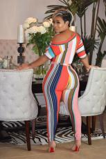 Sexy Striped Oblique Collar Sashes Knitted Jumpsuits OY-6215