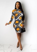 Chain Print Long Sleeves Mini Dress QZX-6156